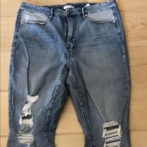 Good American Jeans cropped and distressed